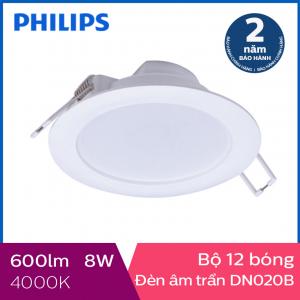Bộ 12 bóng đèn Philips LED Downlight âm trần DN020B 8W 4000K - Ánh sáng trung tính