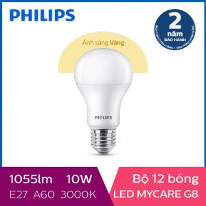 Bộ 12 Bóng đèn Philips LED MyCare 10W 3000K E27 A60 - Ánh sáng vàng
