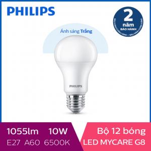 Bộ 12 Bóng đèn Philips LED MyCare 10W 6500K E27 A60 - Ánh sáng trắng
