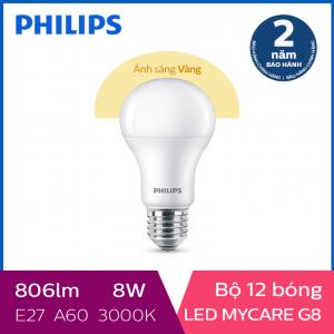 Bộ 12 Bóng đèn Philips LED MyCare 8W 3000K E27 A60 - Ánh sáng vàng