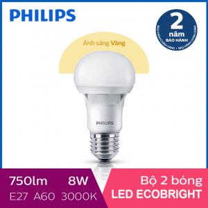Bộ 2 Bóng đèn Philips LED Ecobright 8W 3000K E27 A60 - Ánh sáng vàng
