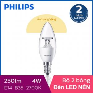 Bộ 2 Bóng đèn Philips LED Nến 4W 2700K E14 B35 - Ánh sáng vàng