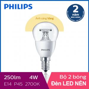Bộ 2 Bóng đèn Philips LED Nến 4W 2700K E14 P45 - Ánh sáng vàng