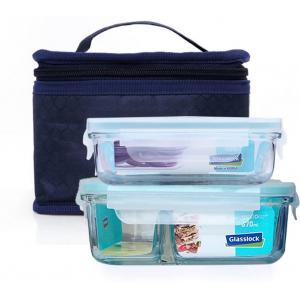 Bộ 2 hộp đựng cơm Glasslock 400ml và hộp chia ngăn 670ml TẶNG túi giữ nhiệt