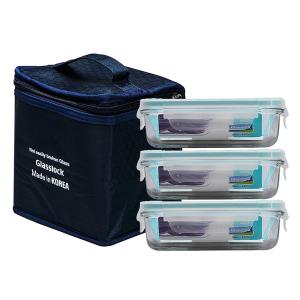 Bộ 3 hộp đựng cơm Glasslock 400ml tặng kèm túi giữ nhiệt