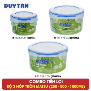 Bộ 3 hộp tròn đựng thực phẩm Duy Tân Matsu dung tích 250-500-1000ml - 03383+03406+03437