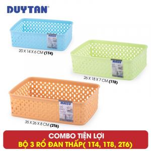 Bộ 3 Rổ đan thấp nhựa Duy Tân - 3 kích thước (1T4, 1T8, 2T6) - 1100+1099+1098