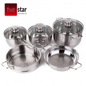 Bộ 5 nồi xửng inox 3 đáy nắp kính Fivestar FS08CG1