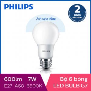 Bộ 6 Bóng đèn Philips LED Gen7 7W 6500K E27 A60 - Ánh sáng trắng