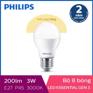 Bộ 8 Bóng đèn Philips LED Essential Gen3 3W 3000K E27 P45 - Ánh sáng vàng