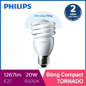 Bóng đèn Compact xoắn tiết kiệm điện Philips Tornado 20W 6500K E27- Ánh sáng trắng