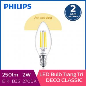 Bóng đèn Philips LED Classic 2W 2700K E14 B35 - Ánh sáng vàng