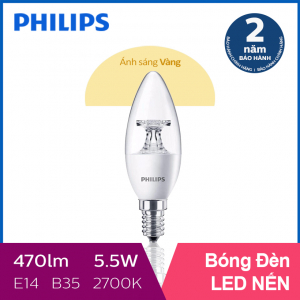Bóng đèn Philips LED Nến 5.5W 2700K E14 B35 - Ánh sáng vàng