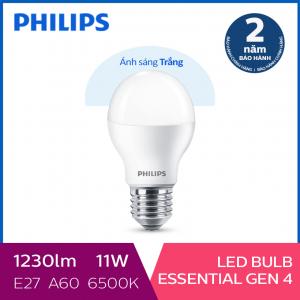 Bóng đèn Philips LED siêu sáng tiết kiệm điện Essential Gen4 11W E27 A60 - Ánh sáng trắng