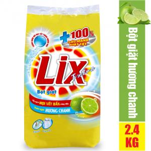 Bột Giặt LIX EXTRA 2.4KG Hương Chanh + Tẩy Sạch Cực Mạnh Vết Bẩn - EC025