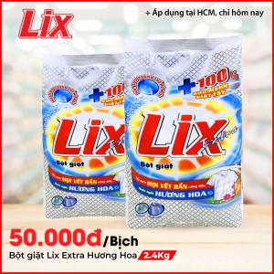 Bột giặt Lix Extra hương hoa 2.4Kg - Tẩy sạch vết bẩn cực mạnh - EB024