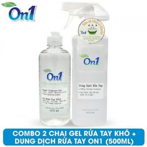 COMBO 2 chai Gel rửa tay khô On1 500ml + Dung dịch rửa tay khô On1 - FR509 + DB500