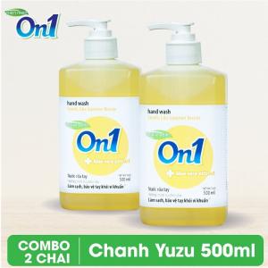COMBO 2 chai Nước rửa tay sạch khuẩn On1 500ml hương Chanh YUZU - 2-RT502