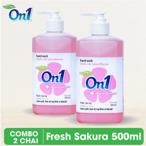 Combo 2 chai Nước rửa tay sạch khuẩn On1 500ml hương Fresh Sakura - 2-RT501
