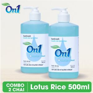 Combo 2 chai Nước rửa tay sạch khuẩn On1 500ml hương Lotus Rice - 2-RT500