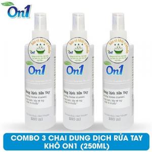 COMBO 3 chai Dung dịch rửa tay khô On1 250ml hương BamBoo Charcoal - 3-DB250