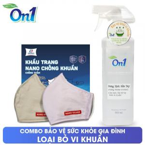 COMBO Dung dịch rửa tay khô On1 500ml + 2 cái Khẩu trang NANO bạc HANVICO - DD + KT