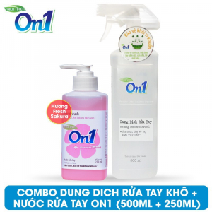 COMBO Dung dịch rửa tay khô On1 500ml + Nước rửa tay On1 250ml - Combo 34