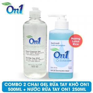 COMBO Gel rửa tay khô sạch khuẩn On1 500ml + Nước rửa tay On1 250ml - Combo 33