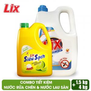 COMBO Nước lau sàn Lix đuổi côn trùng 4 lít + Nước rửa chén Lix siêu sạch hương chanh 1.5Kg - LDS16 + NS002