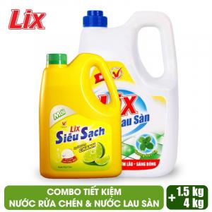 COMBO Nước lau sàn Lix hương bạc hà 4 lít + Nước rửa chén Lix siêu sạch hương chanh - LDS15 + NS002