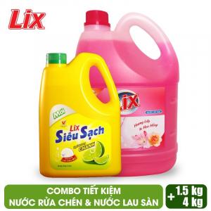 COMBO Nước lau sàn Lix hương lily và hoa hồng 4 lít + Nước rửa chén Lix siêu sạch hương chanh 1.5Kg - LSL03 + NS002