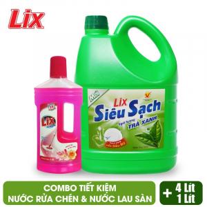 COMBO Nước rửa chén Lix 4Kg + Nước lau sàn Lix 1 lít - Combo 2