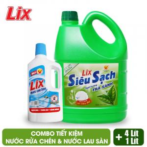 COMBO Nước rửa chén Lix 4Kg + Nước lau sàn Lix 1 lít - Combo 3