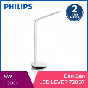 Đèn bàn Philips LED Lever 72007 5W (Bạc)