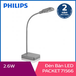 Đèn bàn Philips LED Packet 71566 2.6W (Xám)