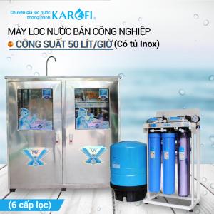 Máy lọc nước RO bán công nghiệp KAROFI KB50 (Tủ inox, 6 cấp lọc)