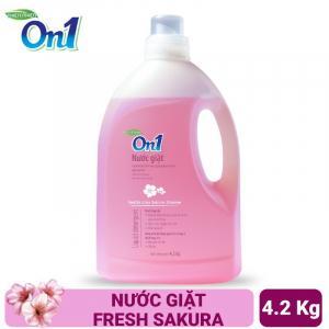 Nước giặt On1 hương Fresh Sakura 4.2Kg - Sạch khuẩn, khử mùi, kết hợp giặt xả 2 trong 1 - NGS4