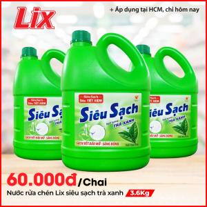 Nước Rửa Chén LIX 3.6KG Siêu Sạch Hương Trà Xanh N8105