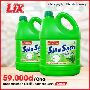 Nước Rửa Chén LIX 3.8KG Siêu Sạch Hương Trà Xanh
