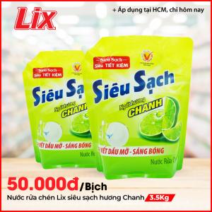 Nước Rửa Chén LIX Túi 3.5KG Siêu Sạch Hương Chanh