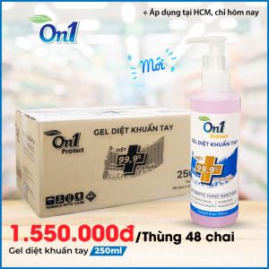 Thùng Gel Rửa Tay khô sạch khuẩn nhanh On1 Protect hương BamBoo Charcoal chai nhấn 250ml C0102