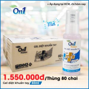 Thùng Gel Rửa Tay khô sạch khuẩn nhanh On1 Protect hương BamBoo Charcoal chai nhấn 60ml C0101
