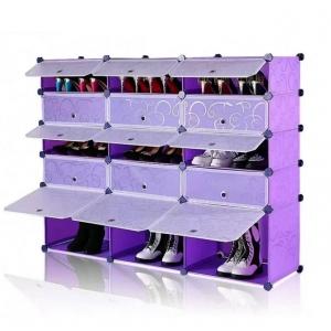 Tủ giày dép đa năng 15 ngăn Tupper Cabinet TC-15PP-W ( tím cửa trắng)