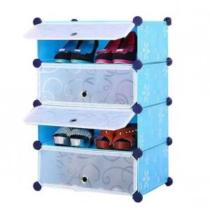 Tủ giày dép đa năng 4 ngăn Tupper Cabinet TC-4BL-W ( xanh cửa trắng)