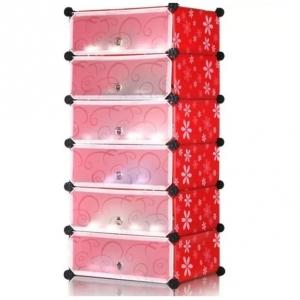Tủ giày dép đa năng 6 ngăn Tupper Cabinet TC-6R-W4 (Đỏ cửa trắng)