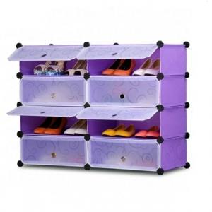 Tủ giày dép đa năng 8 ngăn Tupper Cabinet TC-8PP-W1 (Tím cửa trắng)
