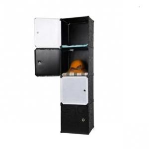 Tủ nhựa 4 ngăn Tupper Cabinet TC-4B-W1 (Đen phối cửa trắng)