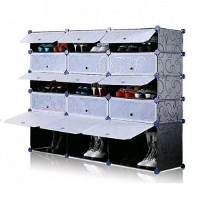 Tủ giày dép đa năng 15 ngăn Tupper Cabinet TC-15B-W1 (đen cửa trắng)