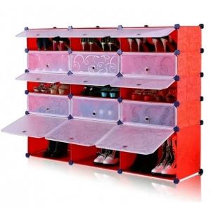 Tủ giày dép đa năng 15 ngăn Tupper Cabinet TC-15R-W (đỏ cửa trắng)