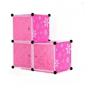 Tủ nhựa đa năng 3 ngăn Tupper Cabinet TC-3P-W (hồng cửa trắng)